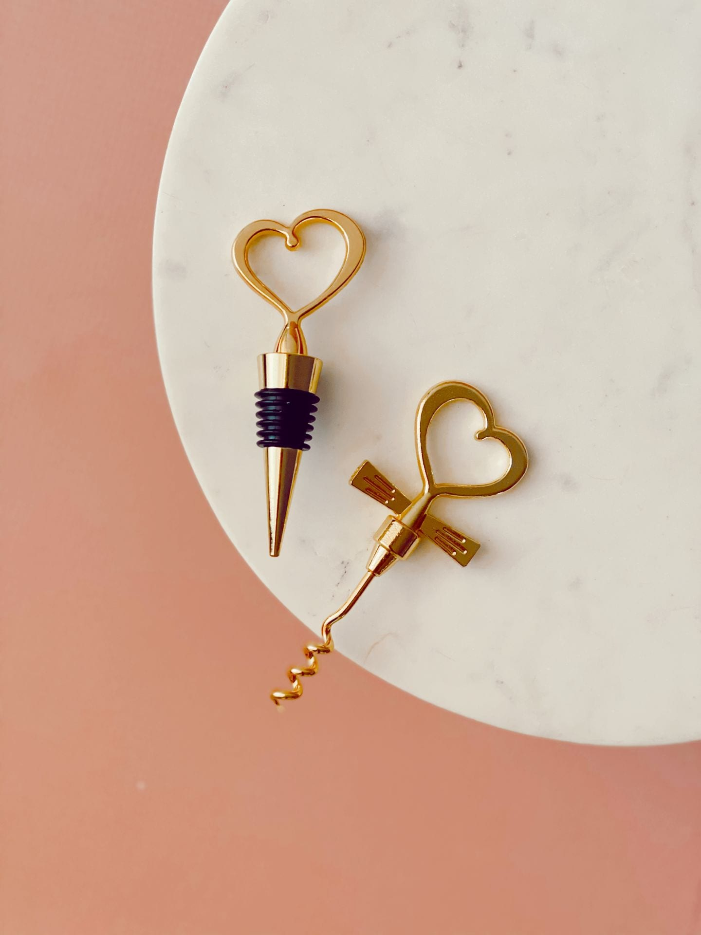 Gold Wine Stopper and Opener Set