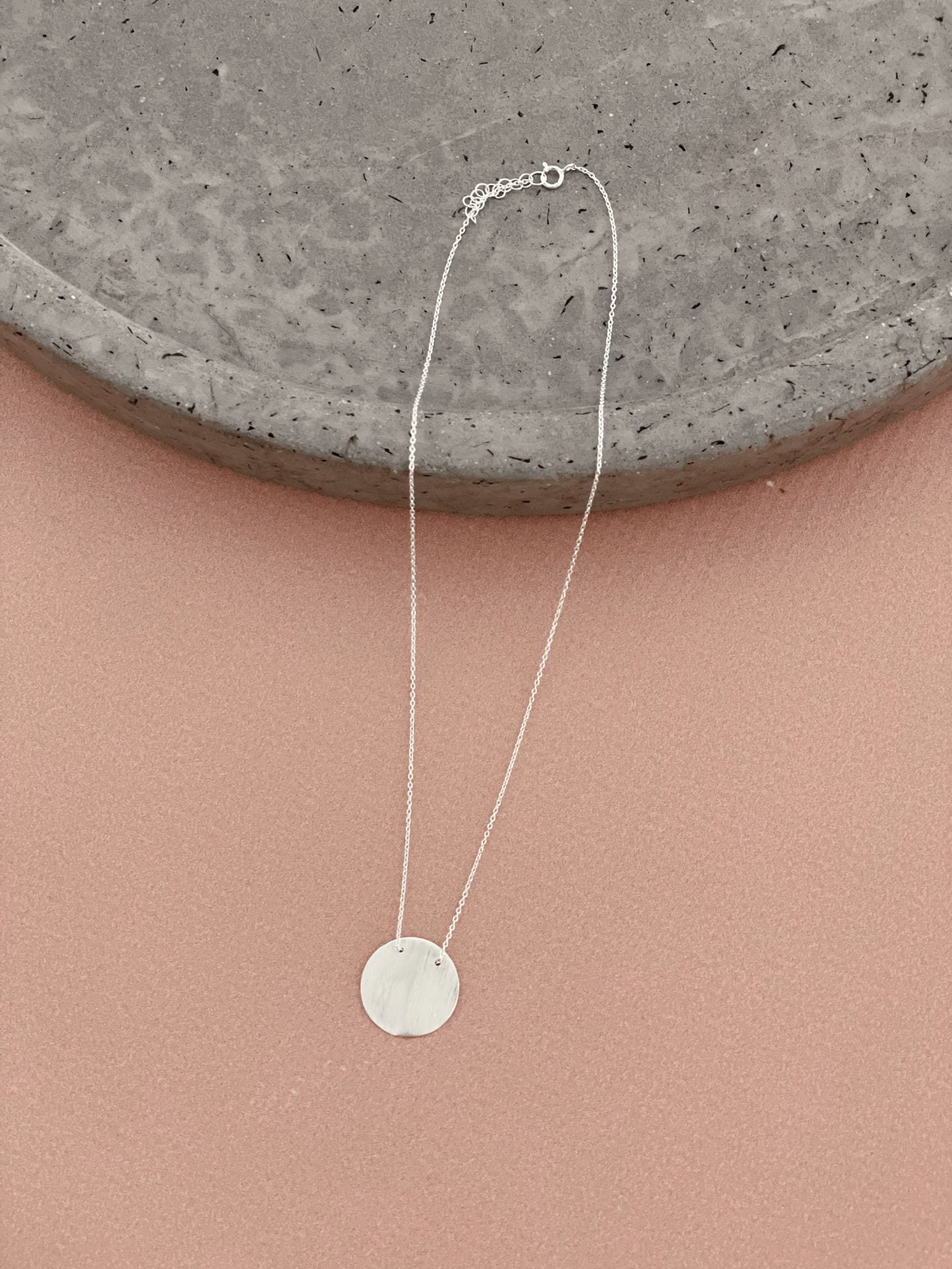 Sterling silver brushed large disc chain necklace 40cm