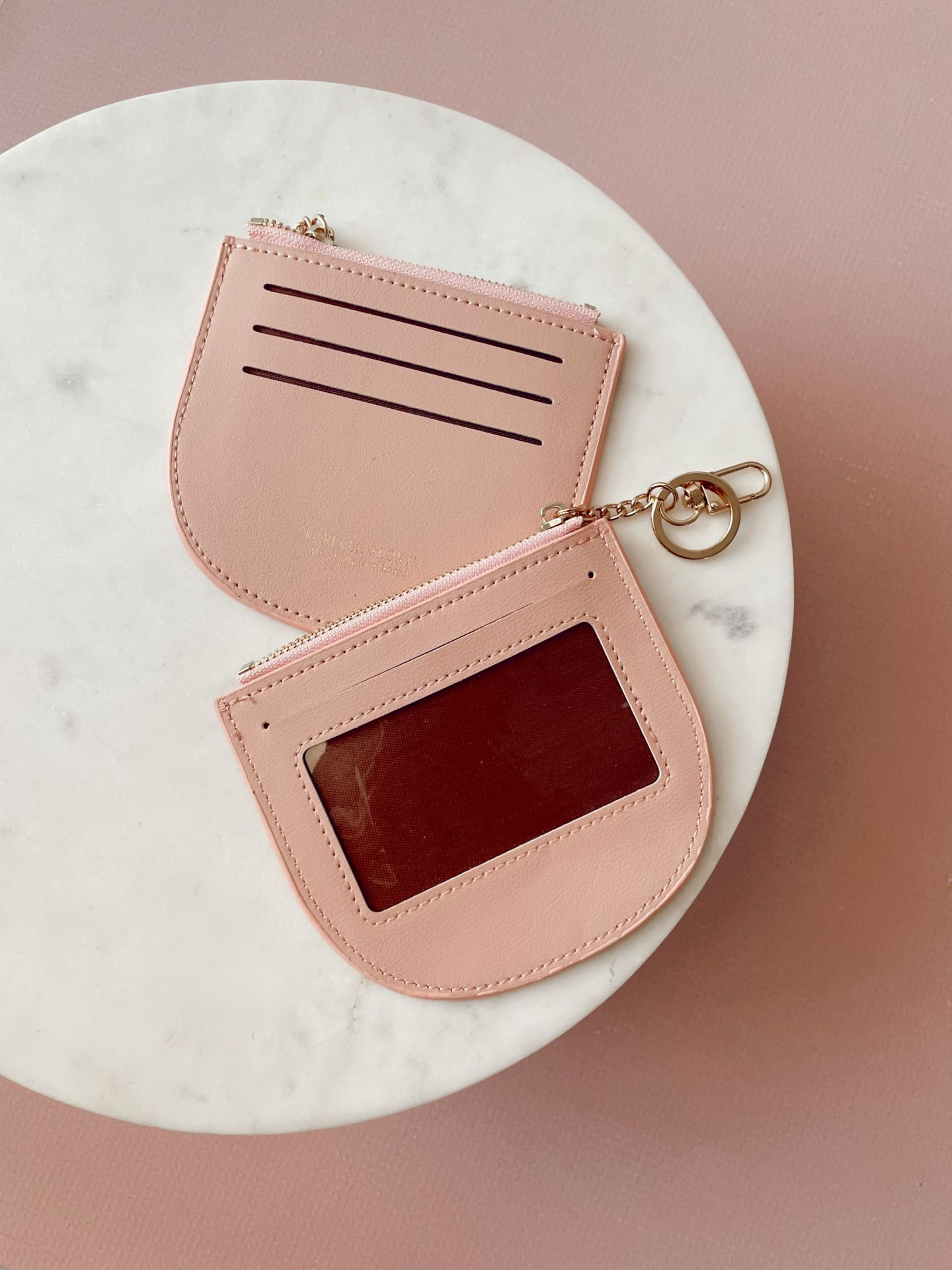Card Holder with Key Chain - Pink