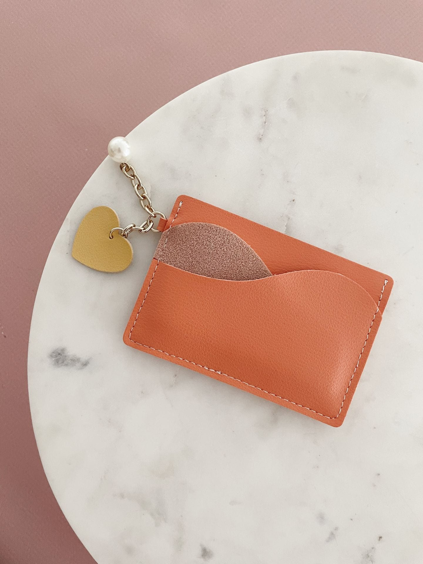 Card Holder with charm - Coral