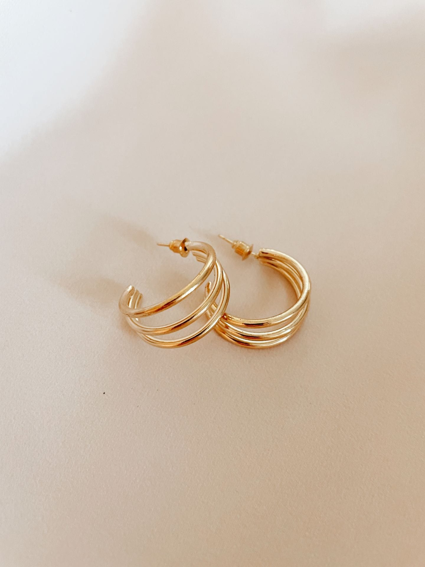 Gold Triangle Stud and Hoop Set
