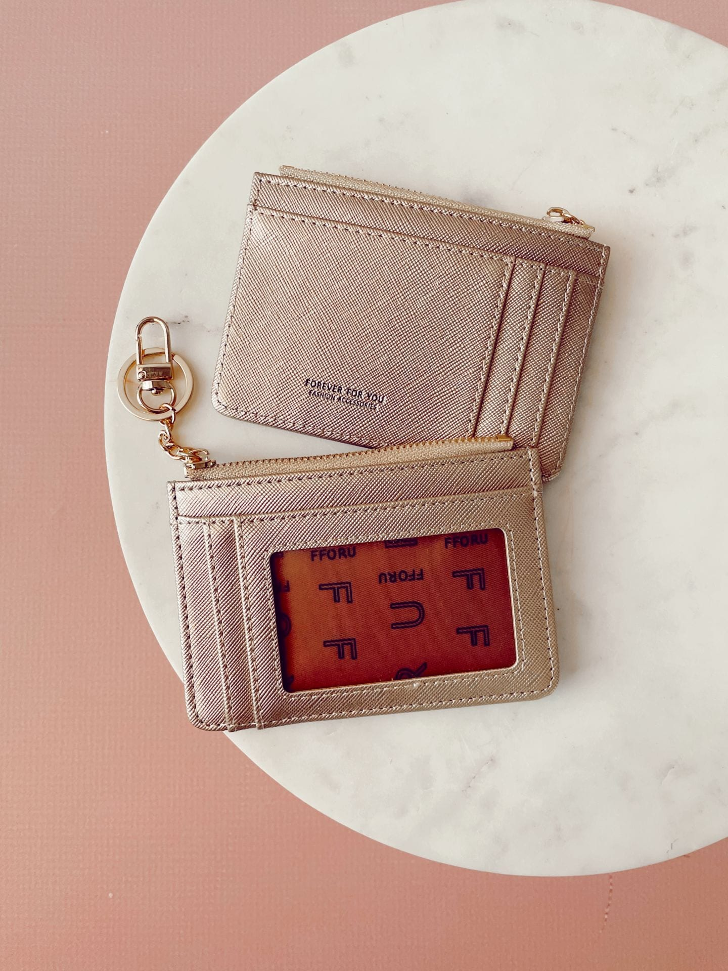 Card Holder with Key Chain - Gold