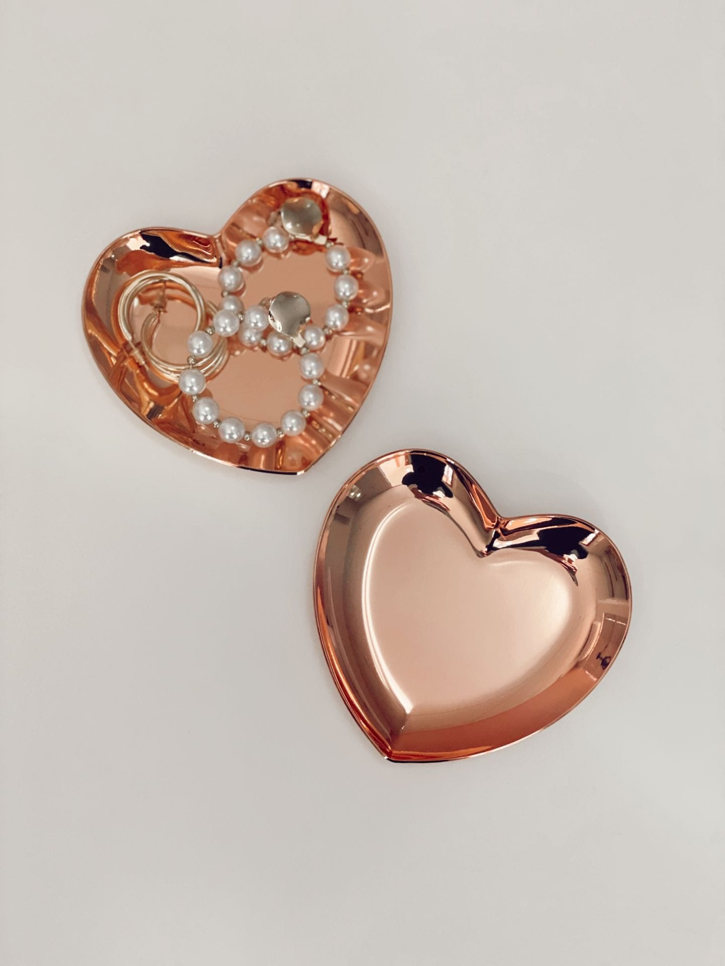 Heart Shaped Jewellery Storage Tray Rose Gold