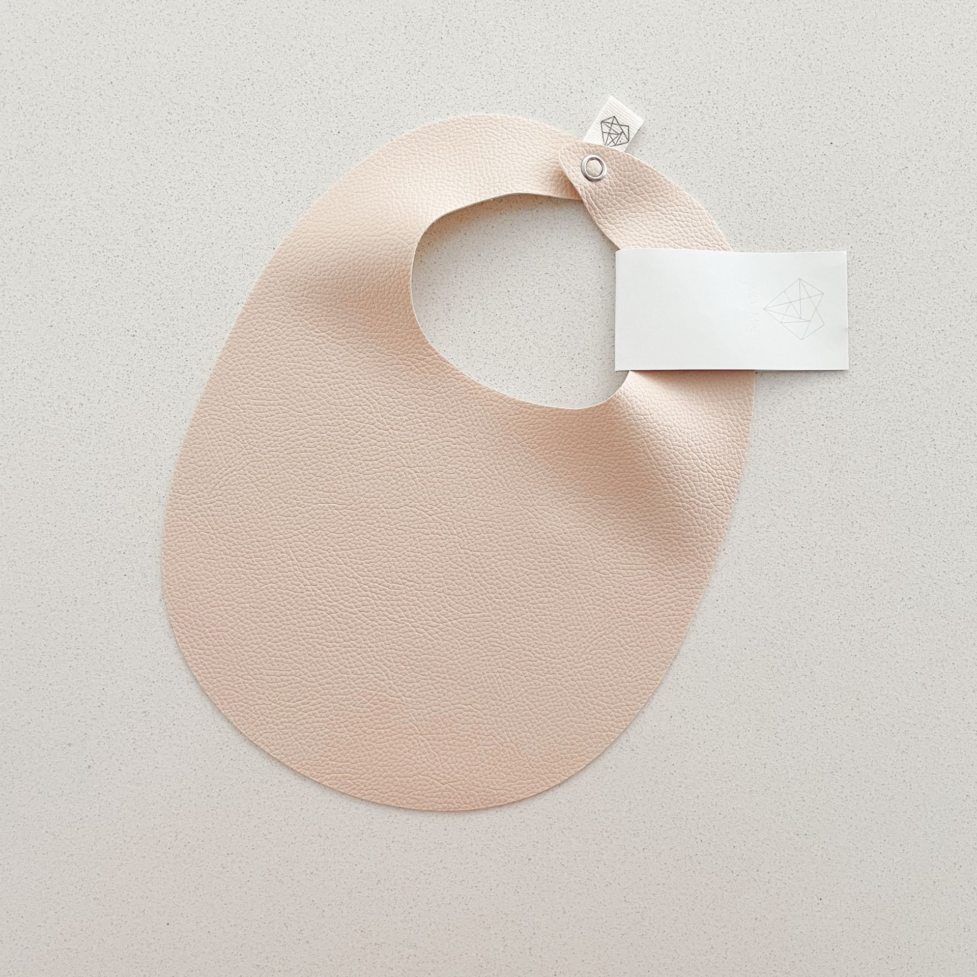 Baby Faux Leather Bib - Light Nude Pink
