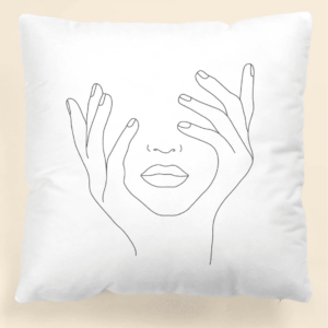 Abstract Figure White Graphic Cushion Cover Without Filler